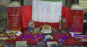 """A Palermo un presepe con la scritta """"No mafia"""" dedicato alle vittime di Cosa nostra"""