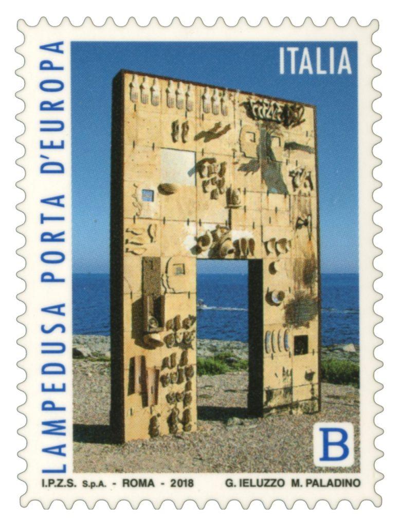 porta europa lampedusa francobollo