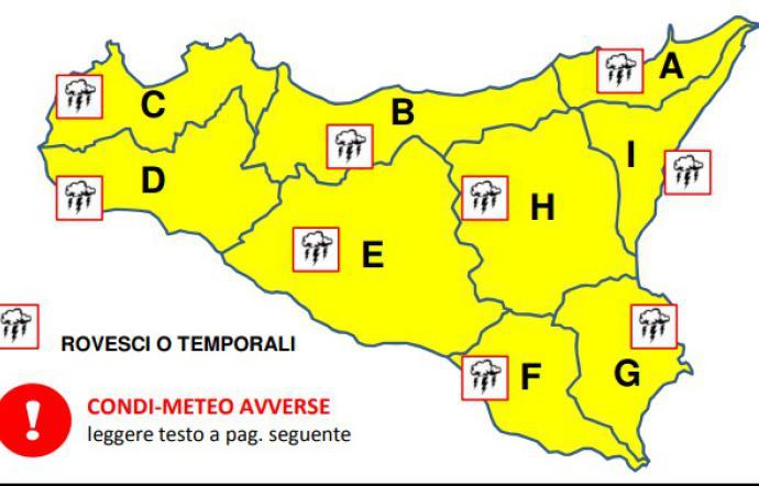 Meteo, domani allerta gialla sulla Sicilia nord-orientale