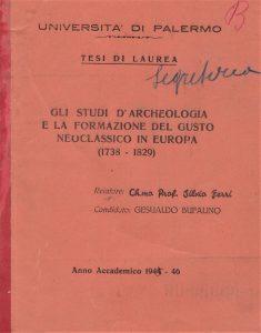 Palermo, ritrovata la tesi di laurea di Gesualdo Bufalino Archivio Storico di Ateneo dell'Università di Palermo